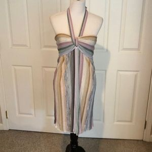 Vtg Missoni Gold pink grey Multicolor halter dress